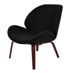 Halk Fabric  Upholstered Lounge Chair - Black