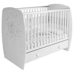 Kudl Kids, Baby Cot French 710 Teddy Print in white, white background