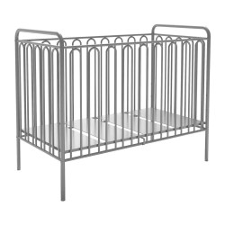 Kidsaw Kudl Kids Vintage Metal Baby Cot 150 in silver, white background