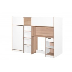Sydney High Sleeper Bed in white and oak, angle view