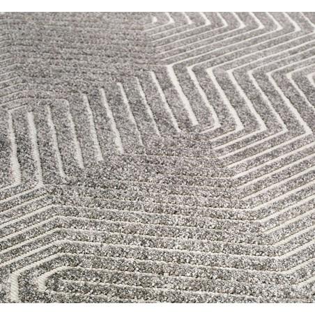 Pavia 3D Design 186 J Grey Rug pattern& Pile Detail