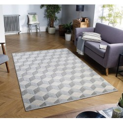 Pavia 3D Design 285Z Grey Rug Indoor Mood Shot