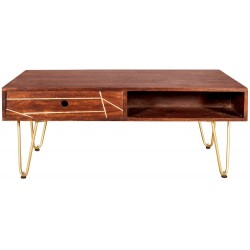 Tanda Dark Gold Rectangular Coffee Table, front view