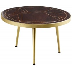Tanda Dark Gold Round Coffee Table, white background