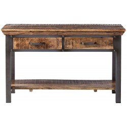 Brompton Industrial 2 Drawer Console Table, front view