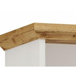 Elham tall dresser in white and oak, top detail