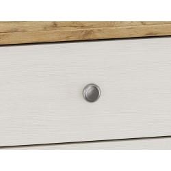 Elham Tall Dresser in white and oak, handle detail