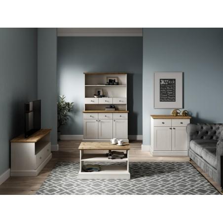 Elham Tall Dresser in white and oak, room shot