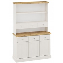 Elham Tall Dresser in white and oak, white background