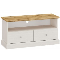 Elham TV / Media Unit in white and oak, white background