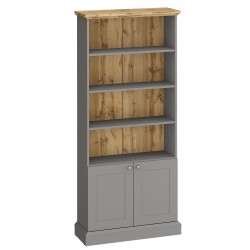 Elham Bookcase in grey and oak, white background