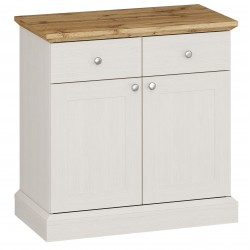Elham 2 Door 2 Drawer Sideboard in white and oak, white background