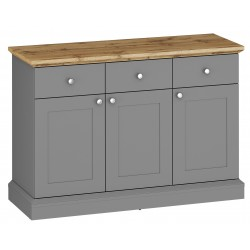 Elham 3 Door 3 Drawer Sideboard in grey and oak effect, white background