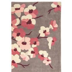Lunga Floral  Rug, Grey & Pink