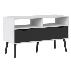 Asti TV Unit With 2 Drawers in White and Black Matt, angle view 1