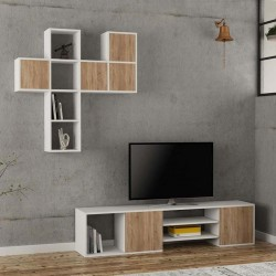 Importar Tv Stand White and Oak Mood Shot Doors Closed