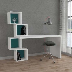 An image of Estable Home Office Desk White and Turquoise