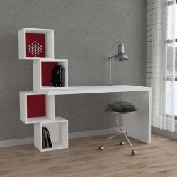 An image of Estable Home Office Desk White and Burgundy