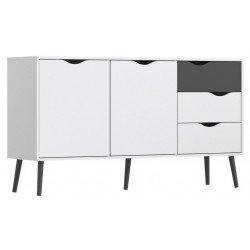Asti Large Sideboard in White and Black Matt, white background