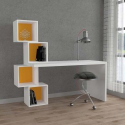 An image of Estable Home Office Desk White and Mustard