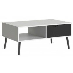 Asti Wide TV Unit in White and Black Matt, white background