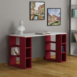 An image of Soleado Contemporary Office Desk White and Burgundy