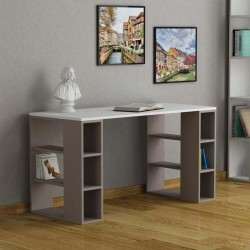 An image of Soleado Contemporary Office Desk White and Light Moca