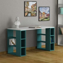 An image of Soleado Contemporary Office Desk White and Turquoise