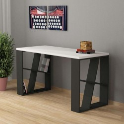 An image of Miel Home Office Desk White and Anthracite
