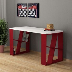 An image of Miel Home Office Desk White and Burgundy