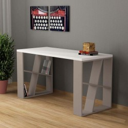 An image of Miel Home Office Desk White and Light Moca