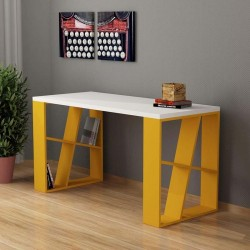 An image of Miel Home Office Desk White and Mustard