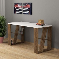 An image of Miel Home Office Desk White and Dark Oak
