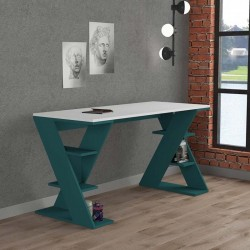 An image of Mariposa Home Office Desk White and Turquoise