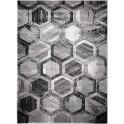 Barton Hex Geometric Rug - Grey
