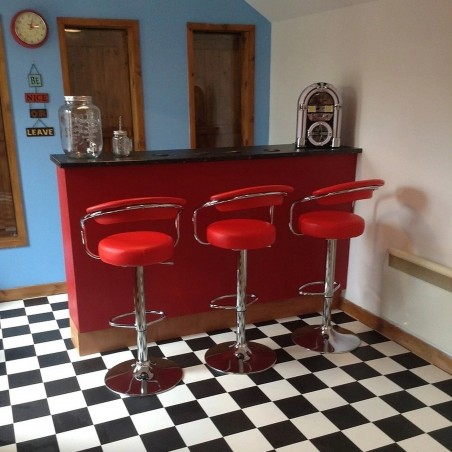 red bar stool - room shot