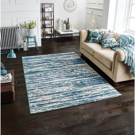 Faina Textured Rug - Blue Room Shot
