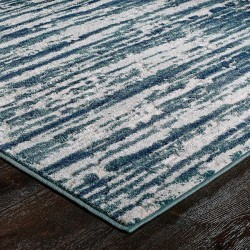 Faina Textured Rug - Blue Edge Detail