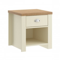 Hawford 1 Drawer Lamp  Table in cream/oak effect, angle view