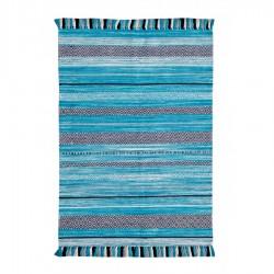 Krakow Ethnic Rug - Teal Stripe