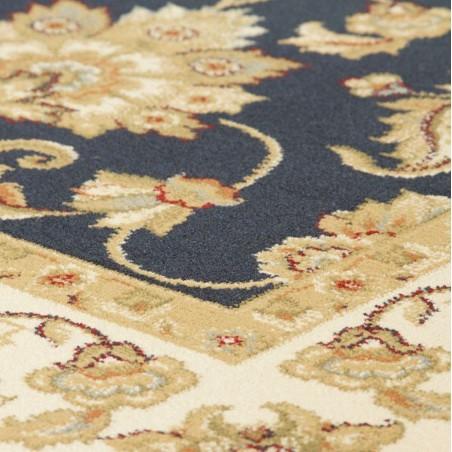 Sumy Floral Bordered Rug - Black Pattern Detail