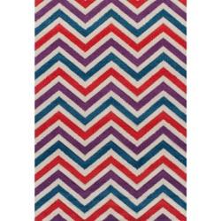 Royan Zigzag Rug Red/ Blue