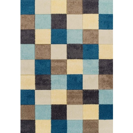 Royan Square Patterned Rug - Blue/ Cream