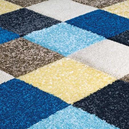 Royan Square Patterned Rug - Blue/ Cream Pattern Detail
