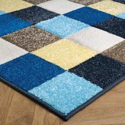 Royan Square Patterned Rug - Blue/ Cream Edge Detail