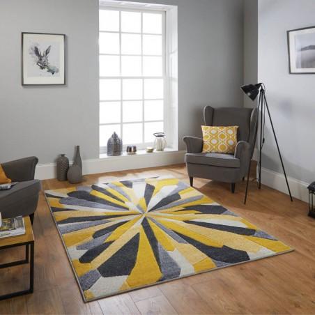 Royan Eruption Rug - Yellow Room Shot