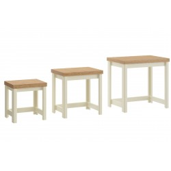 Hawford Nest of Tables in cream/oak effect, angle view