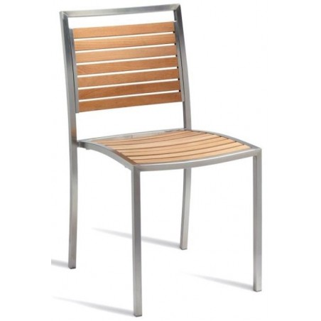 metal and teak garden side chairs