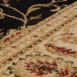 Cazma Vintage Floral Rug - Black Pattern Detail