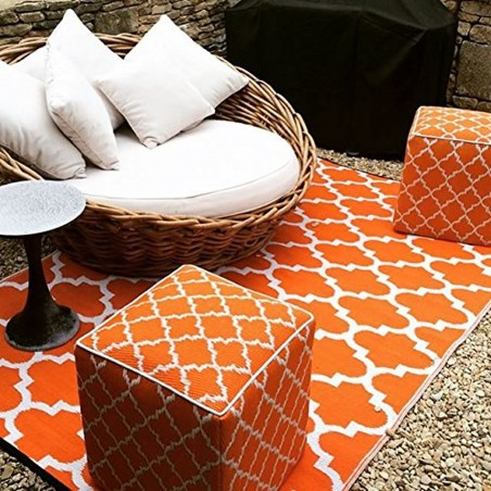 Fab Hab Tangier Outdoor Rug Carrot and white outdoor setting